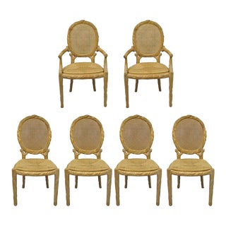 Faux Bois Branch Form Cane Back Rush Seat Carved Wood Twig Dining Chairs- 6 Pieces For Sale