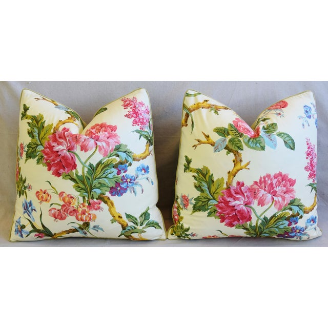 """Cotton French Brunschwig & Fils Floral Feather/Down Pillows 21"""" Square - Pair For Sale - Image 7 of 13"""