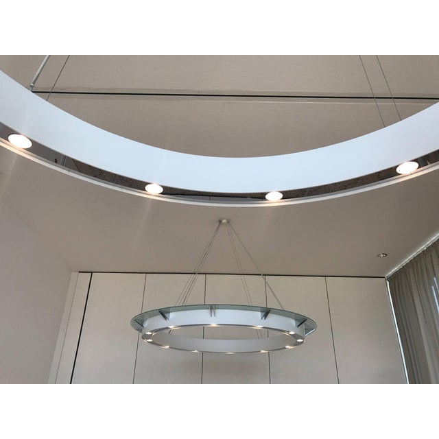 Set of four large modern chandeliers by Rodust & Sohn Germany - an exclusive german design light manufacturer. Metal and...