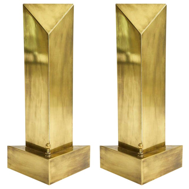 1960s Brass Hart Associates Tablel Lamps - a Pair For Sale
