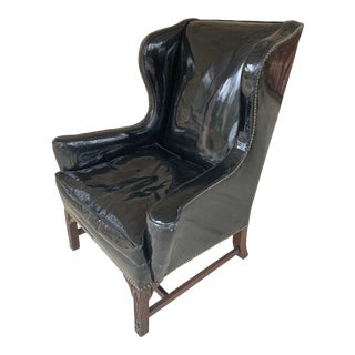 1940s Patent Leather Wingback Studded Chair For Sale