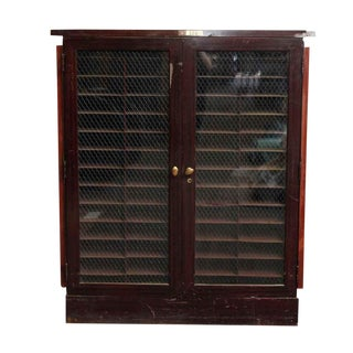 20th Century Industrial Metal Cabinet with Double Chicken Wire Glass Doors For Sale