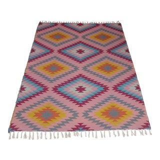 "Reversible Flat Weave Diamond Wool Kilim Rug - 5'3"" x 7'6"" For Sale"