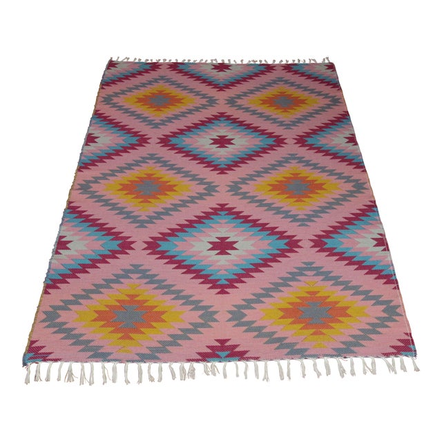 "Reversible Flat Weave Diamond Wool Kilim Rug - 5'3"" x 7'6"" - Image 1 of 8"
