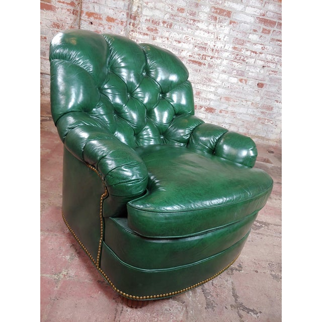 """Hancock & Moore Tufted Green Leather Club Chair w Ottoman. size 32 x 20 x 33"""" seat height 18"""""""