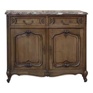 Antique Country French Fruitwood Marble Top Buffet For Sale