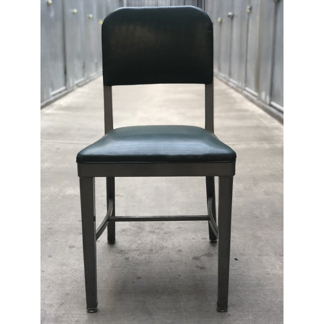 Vintage Mid-Century Industrial Teal Vinyl Office Chair For Sale - Image 9 of 9