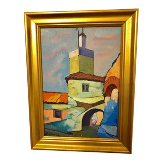 Moroccan Architecture Framed Oil on Board Painting For Sale