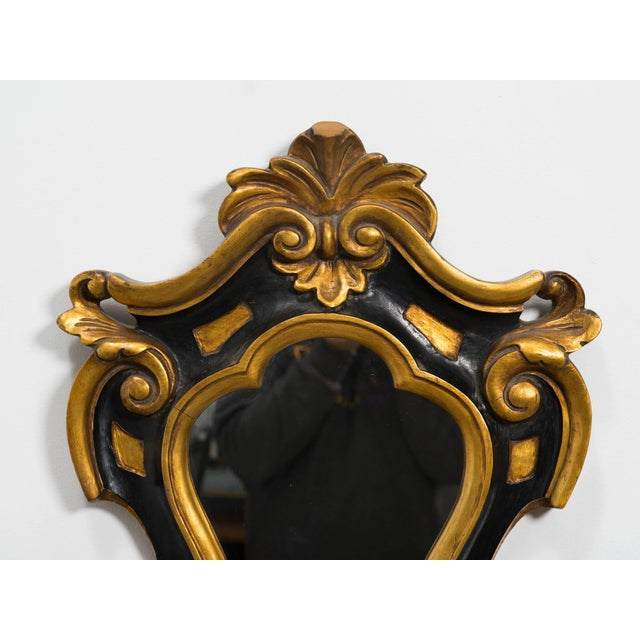 1930s Carved Wood Rococo Style Mirror For Sale - Image 4 of 7