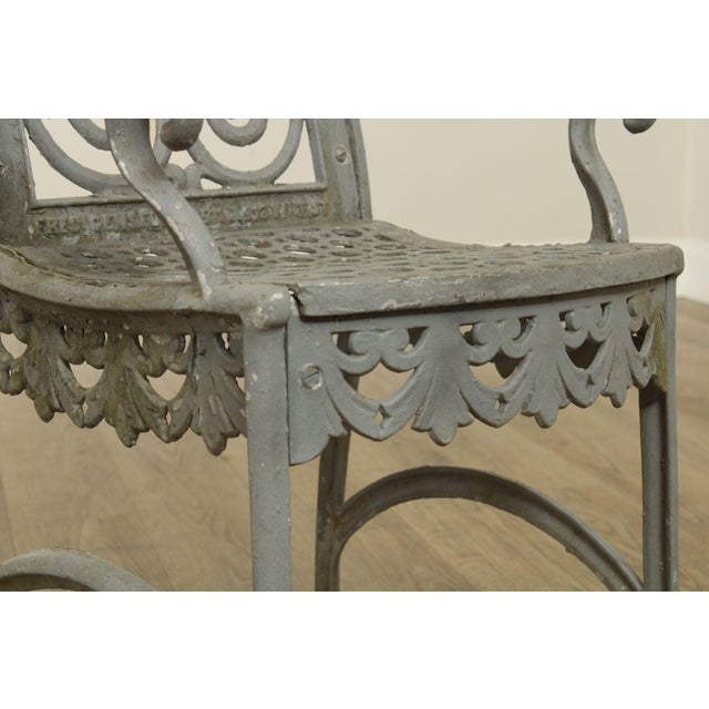 Gray Antique Cast Iron Pair of Garden Cemetery Armchairs, Fred Gensel & Co. For Sale - Image 8 of 13
