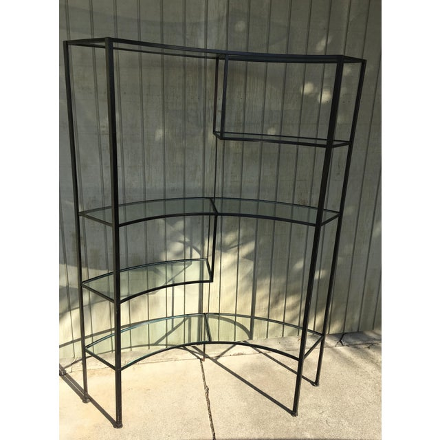 Frederic Weinberg Clear Glass Wrought Iron Shelf For Sale - Image 10 of 11