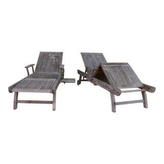 Teak Outdoor Chaise Lounges by Baker - A Pair For Sale
