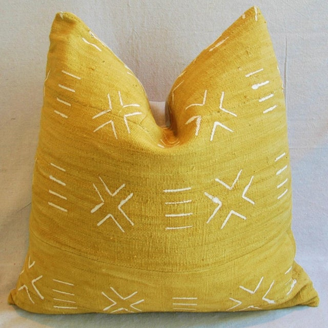Handwoven Gold & Cream Tribal Feather & Down Pillow - Image 2 of 4