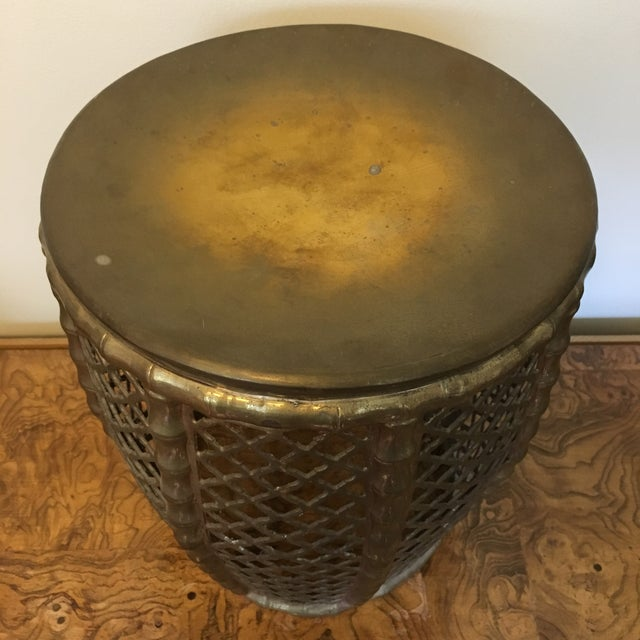 Brass Faux Bamboo Garden Stool For Sale - Image 4 of 5