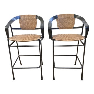 Mid 20th Centuery Custom Leather Banding + Metal Counter Stools - a Pair For Sale