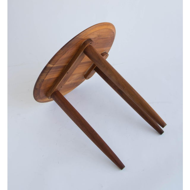 Solid Walnut Round Side Table by Prelude - Image 6 of 6