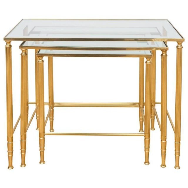 Italian Brass Nesting Tables - Set of 3 For Sale In San Francisco - Image 6 of 6