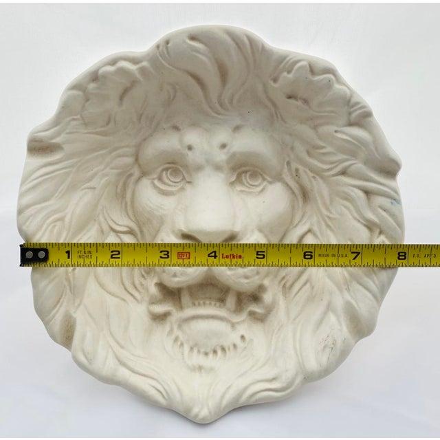 1970s Haeger Lion Head Plate #2122 White Ecru Egg Shell Wall Art For Sale - Image 5 of 13
