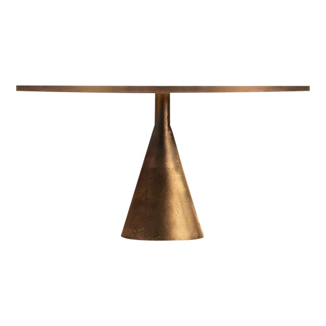 Steel and Rose Gold Dining Table For Sale