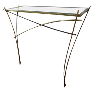 1960's Italian Pier Luigi Colli Attributed Gilt Iron Minimalist Console Table For Sale