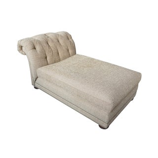 """Century Furniture Deb Chaise Lounge Tufted Scroll Back Chesterfield Chair 70"""" For Sale"""