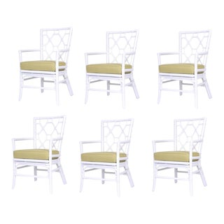 David Francis White Rattan Dining Chairs - Set of 6