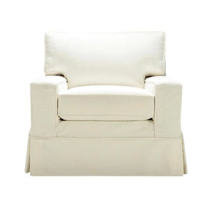 Mitchell Gold Alex Swivel Chair White Slipcover For Sale