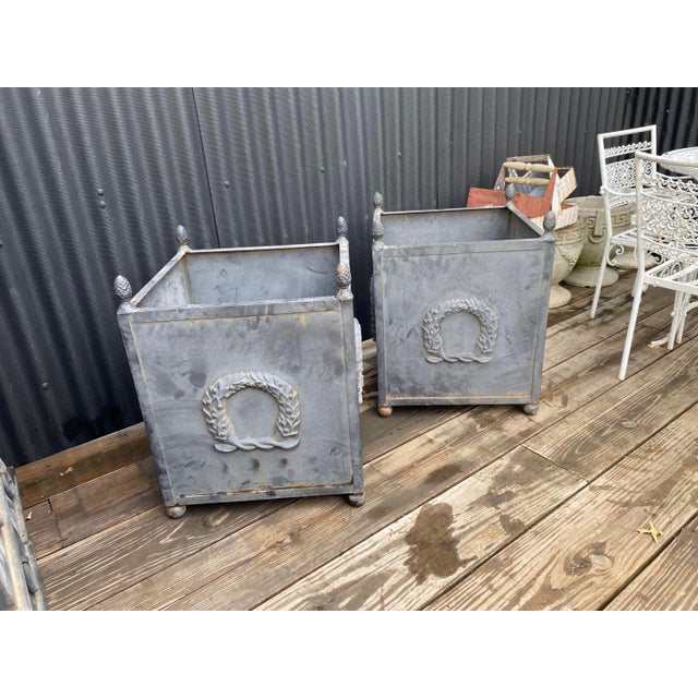 Pair of square large garden planter with cast iron handles and stud decoration