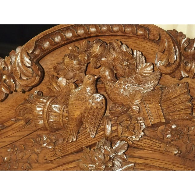 Wood Carved Oak Wedding Cabinet and Chest of Drawers From Normandy, Early 1900s For Sale - Image 7 of 13
