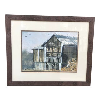 Original Watercolor Painting of a Southern Tobacco Barn With Barn-Side Advertisement For Sale