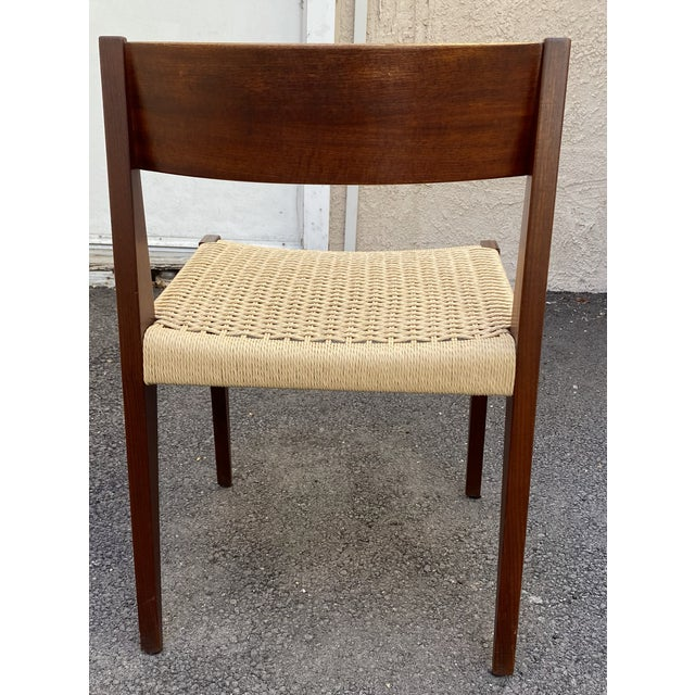 1970s Set of 4 Danish Teak Cord Seat Dining Chairs For Sale - Image 5 of 12