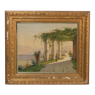 Columns With Ivy Landscape by H. Shumacher 1873 For Sale