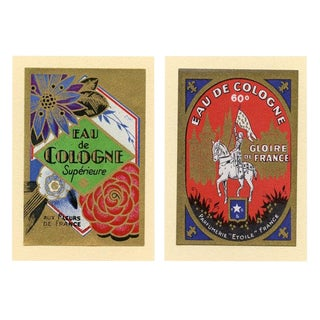 French Cologne Labels, Early 1900s, a Pair For Sale