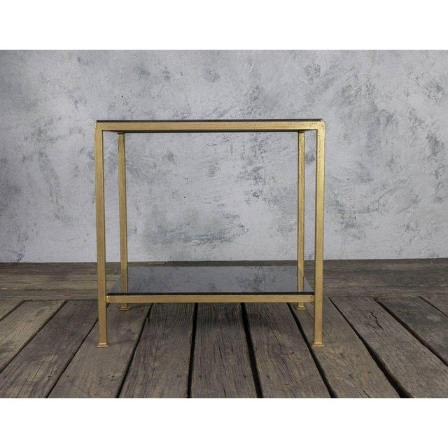 Newly produced, custom crafted iron end table with hand applied gold paint finish and polished granite stone. Other sizes...
