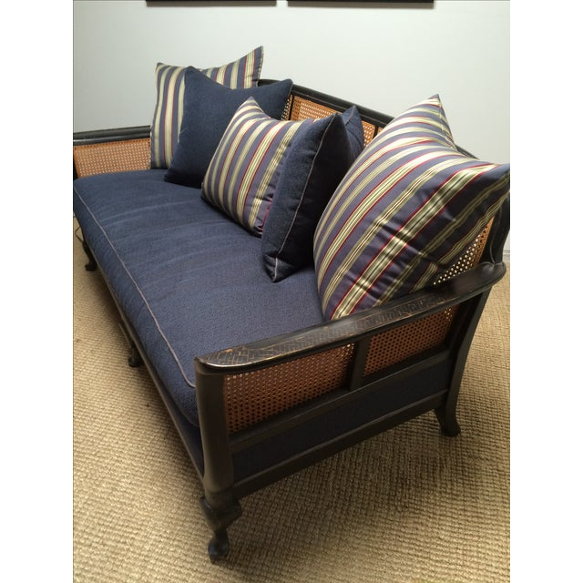 Chinoiserie Cane Back Settee With Pillows - Image 5 of 11
