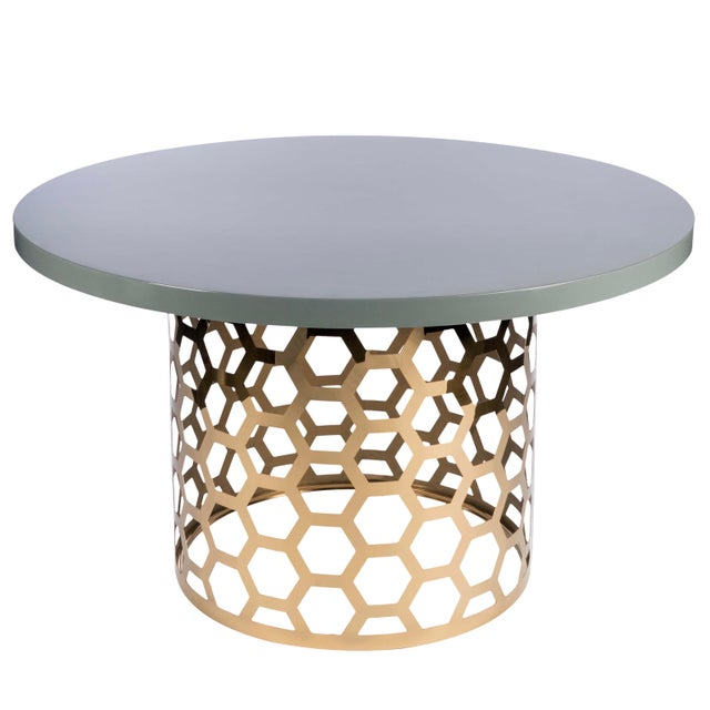 """2010s 54"""" Laguna Gray Top Dining Table For Sale - Image 5 of 5"""
