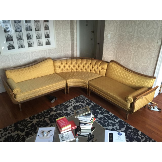 French Provincial Brocade Sectional Sofa - Image 2 of 4