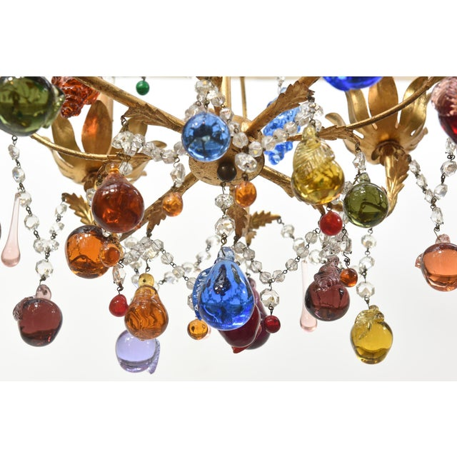 Vintage Italian Chandelier With Hanging Crystal Fruits For Sale - Image 4 of 4