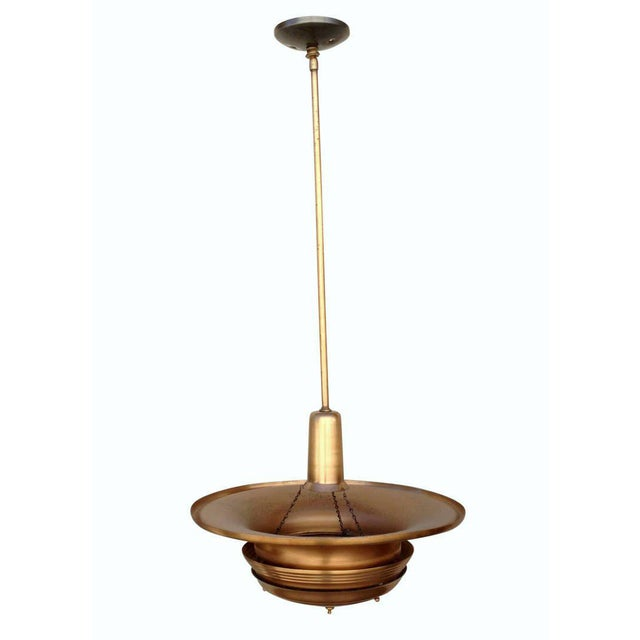 Copper Art Deco Ceiling Hanging Pendant For Sale - Image 4 of 8
