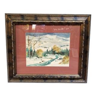 1930s Vintage Paul Lauritz Snow Scene Watercolor Painting For Sale