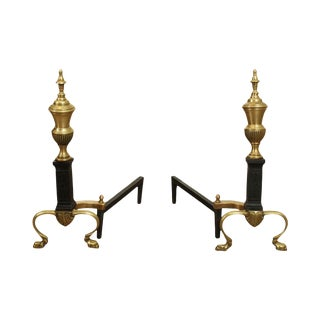 Black Iron & Brass Pair Andirons For Sale