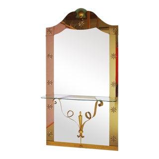 1950s Oversized Italian Art Deco Console Mirror by Pier Luigi Colli For Sale