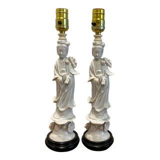 Vintage Asian Figural Porcelain Blanc De Chine Table Lamps - a Pair For Sale