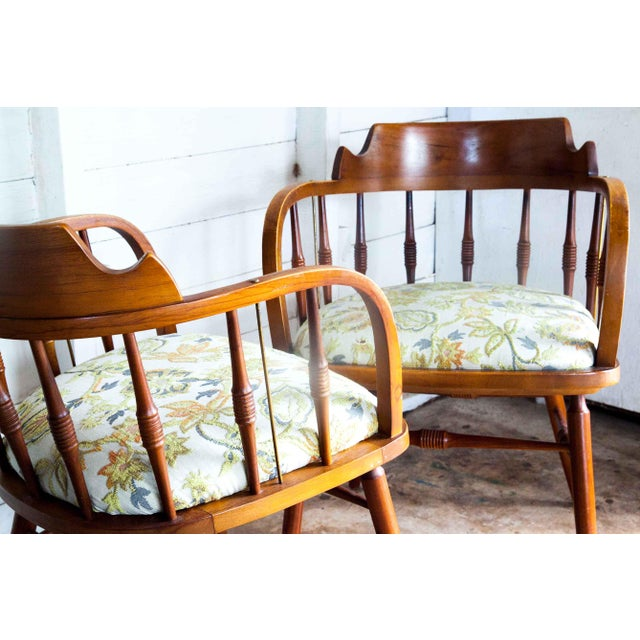 Drexel 1950s Vintage Drexel Barrel Dining Office Accent Arm Chairs- Pair For Sale - Image 4 of 13