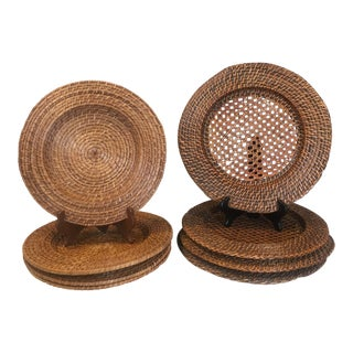 Vintage Round Woven Rattan Wicker Charger Plates - Set of 9 For Sale
