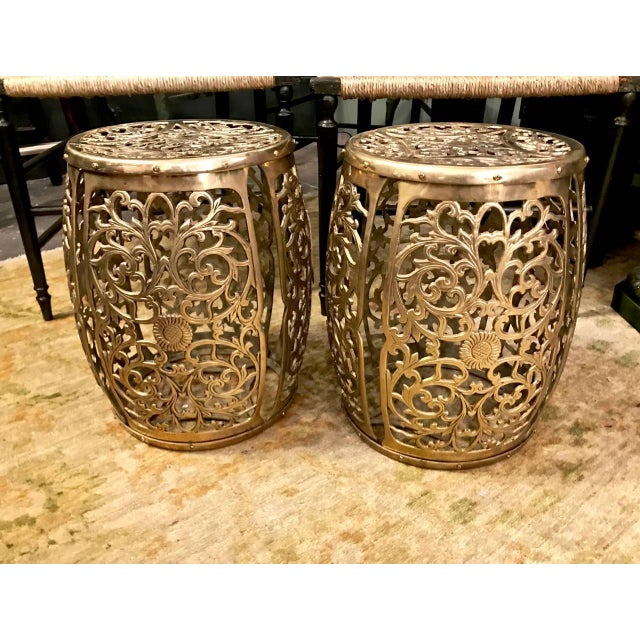 Pair of Cast Brass Chinoiserie Garden Stools, Scrolling Vines, C. 1960 For Sale In Los Angeles - Image 6 of 6