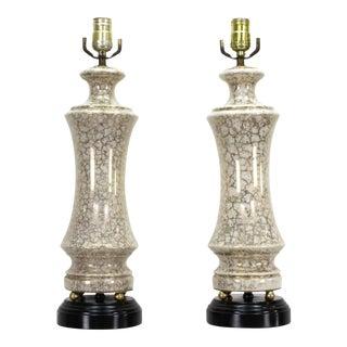 Vintage Pair of Gilt Porcelain Table Lamps