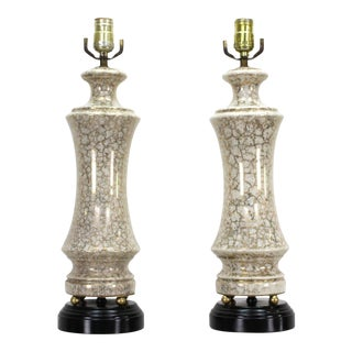 Vintage Pair of Gilt Porcelain Table Lamps For Sale
