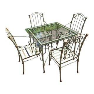 Vintage Iron Outdoor Dining Set - 5 Pieces For Sale