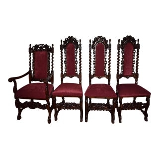 19th Century Antique Jacobean Cherub Twisted Oak Chairs - Set of 4 For Sale